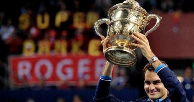 Federer Holds the Trophy Aloft, Basel 2011