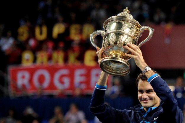 Federer Holds the Trophy Aloft, Basel 2011