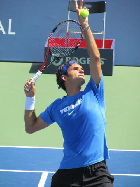 Federer practicing in Montreal 2011