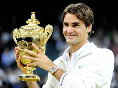 Federer Holding Wimbledon Trophy