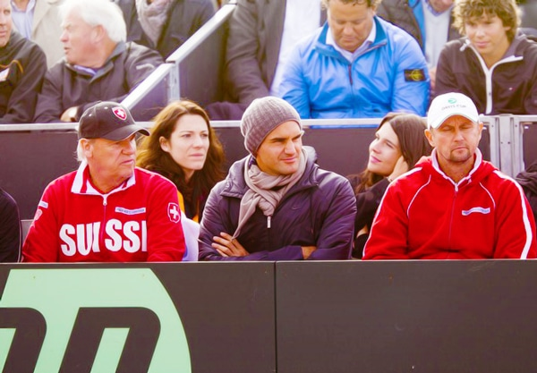 Federer looking like he's playing in Antartica