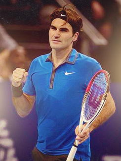 Federer Fist Pumps after Defeating Mathieu in Basel
