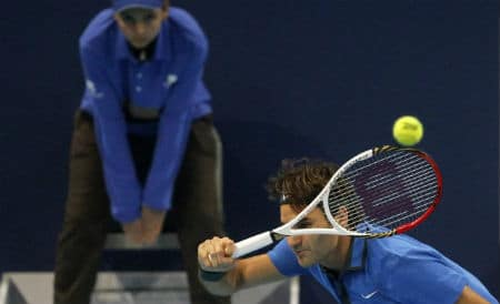 Federer Whipped Forehand vs. Becker in Basel