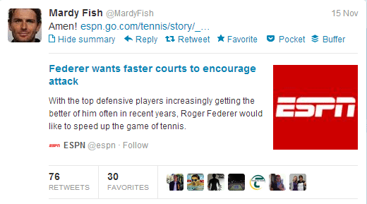 Mardy Fish wants Faster Courts