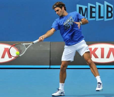Federer Practising in Melbourne 2013