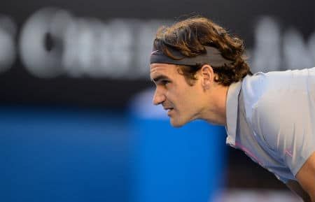 Federer Returns Serve in Australian Open Quarter Final