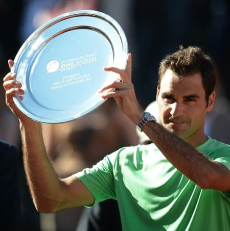 Federer with his runners up trophy Rome 2013