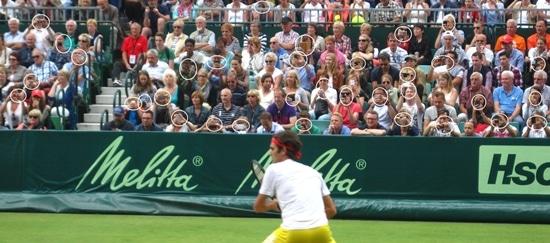 Fans filming Roger
