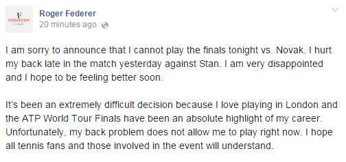 Federer Withdraws