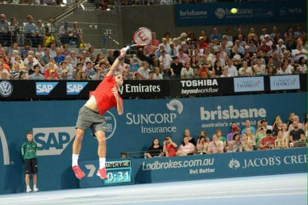 Federer Serving Brisbane Quarter Final 2015