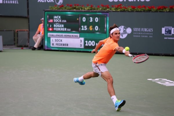 Federer played against American Jack Sock
