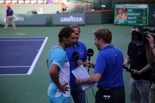 Nadal being interviewed by Sky Sports in front of where I was sitting