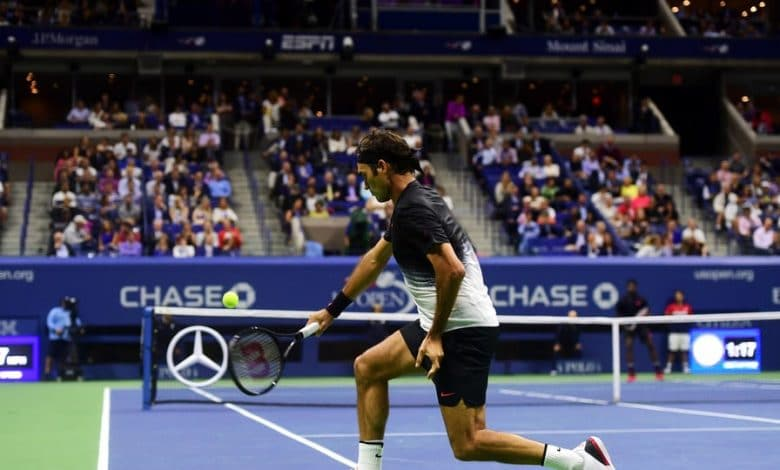 Photo of Roger Federer Playing at Court Level [Compilation]