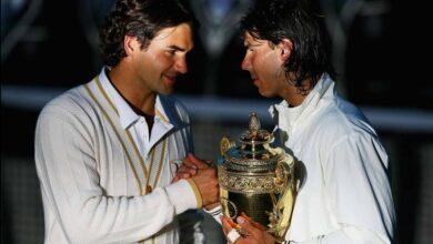Photo of Rafael Nadal vs Roger Federer, Wimbledon Final 2008