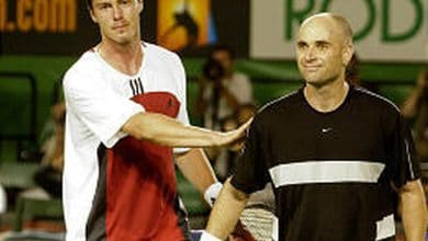 Photo of Marat Safin vs Andre Agassi, Australian Open 2004
