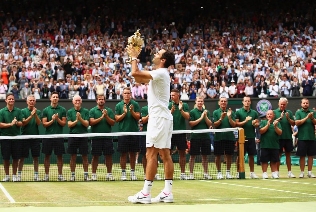 Federer Lifting Wimbledon Trophy