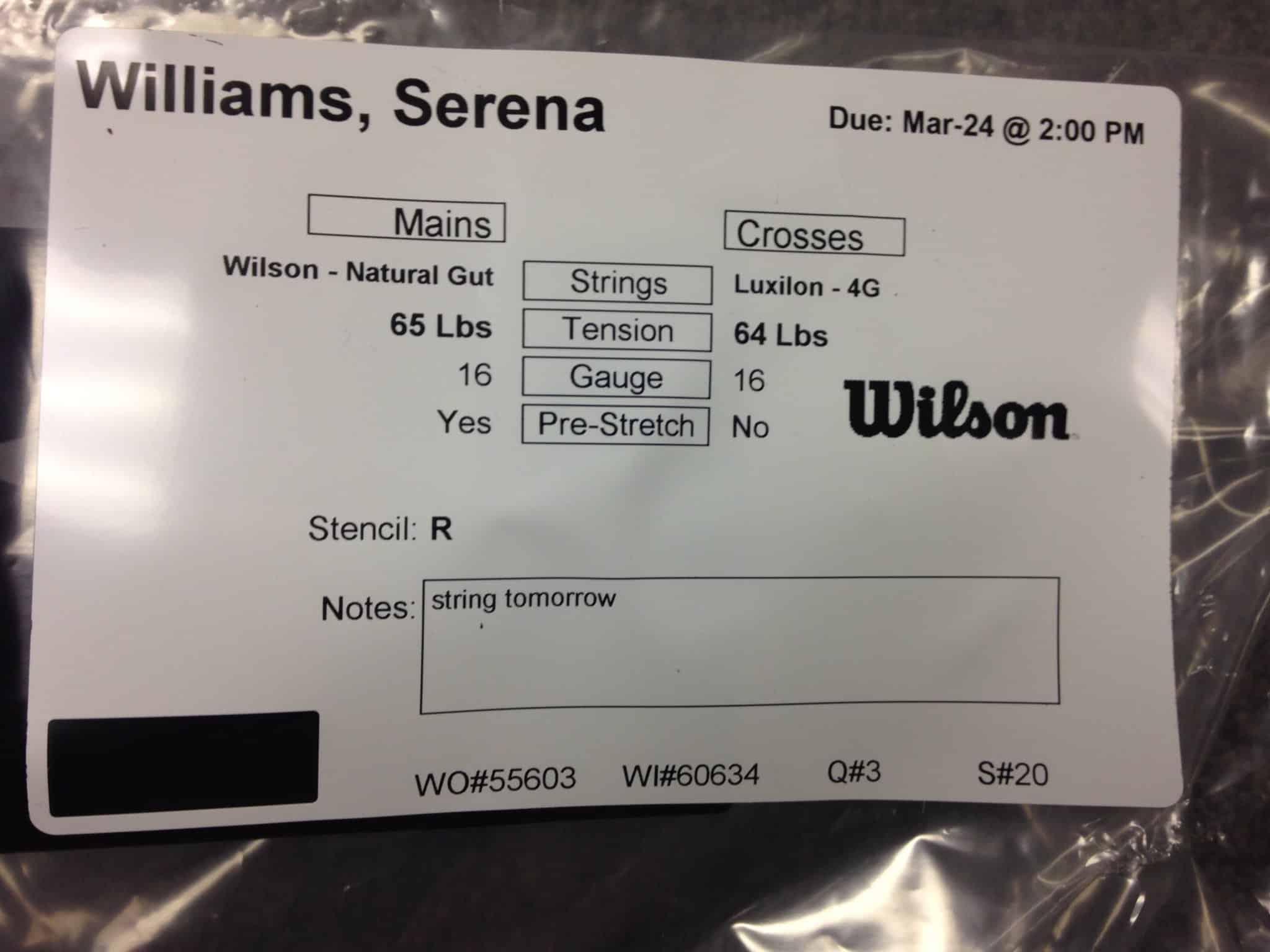 serena williams strings
