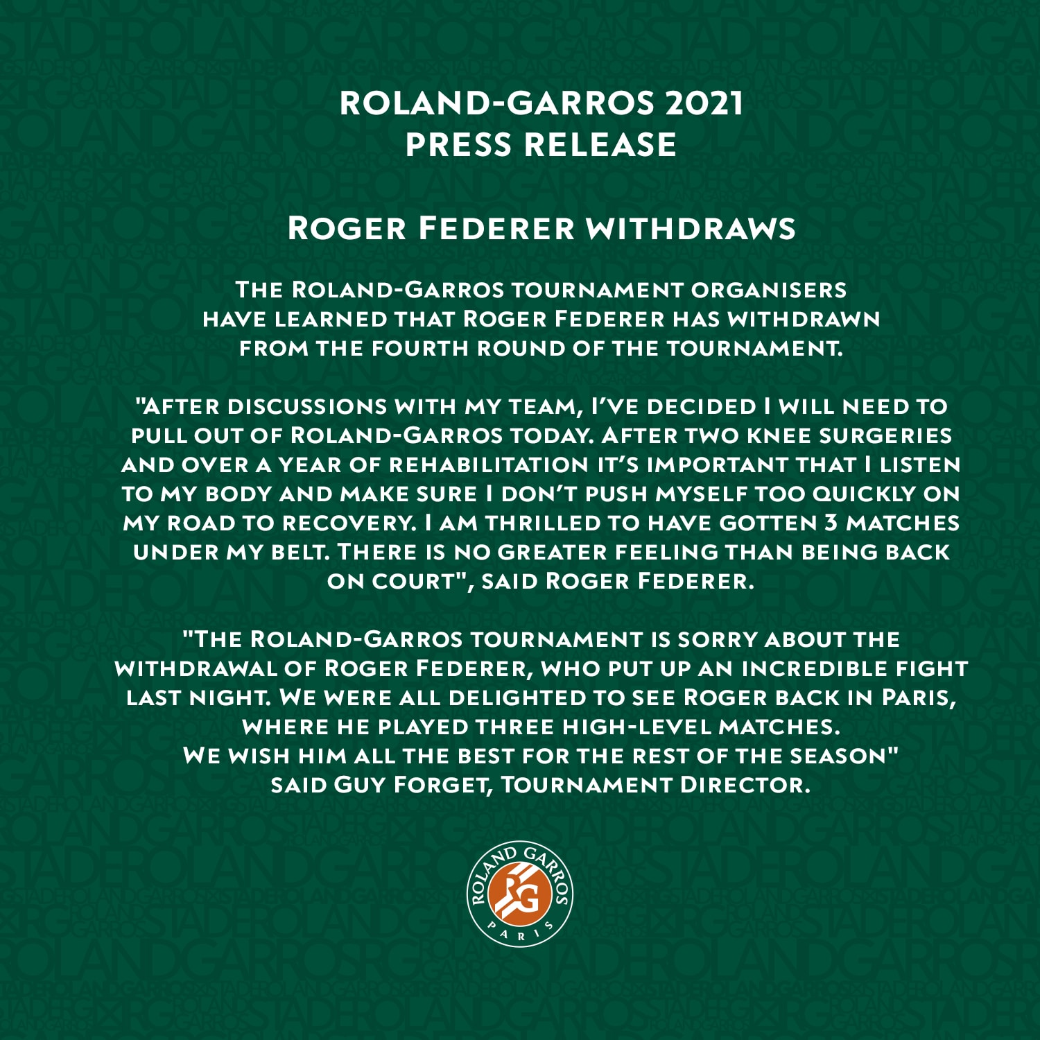 federer withdraw